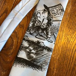 Other - Alice in Wonderland men's silk screen tie lt blue